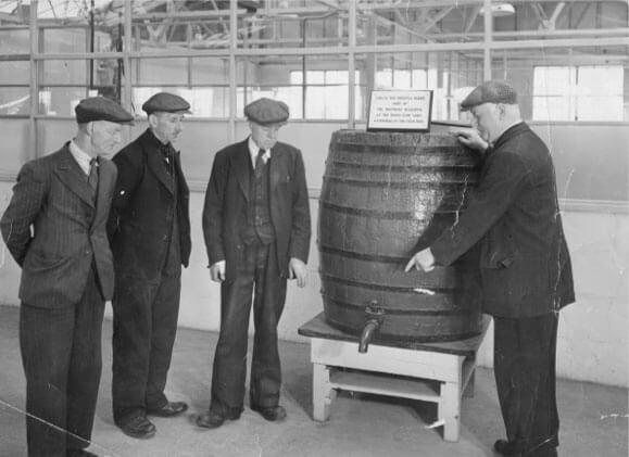 The original barrel used to mix marine paint